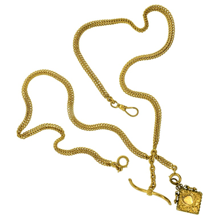 Victorian chain originally for a pocket watch, but now these chains are popular as neck chains.  One can add different pendants.  This chain weighs 59.27 grams and is 14k gold.  It does come with a small locket which dates to the same time period -