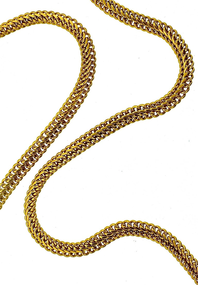 Victorian Antique Gold Neck Chain with Fobs, circa 1900 For Sale