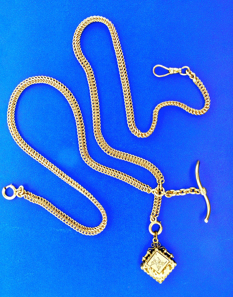 Antique Gold Neck Chain with Fobs, circa 1900 For Sale 1