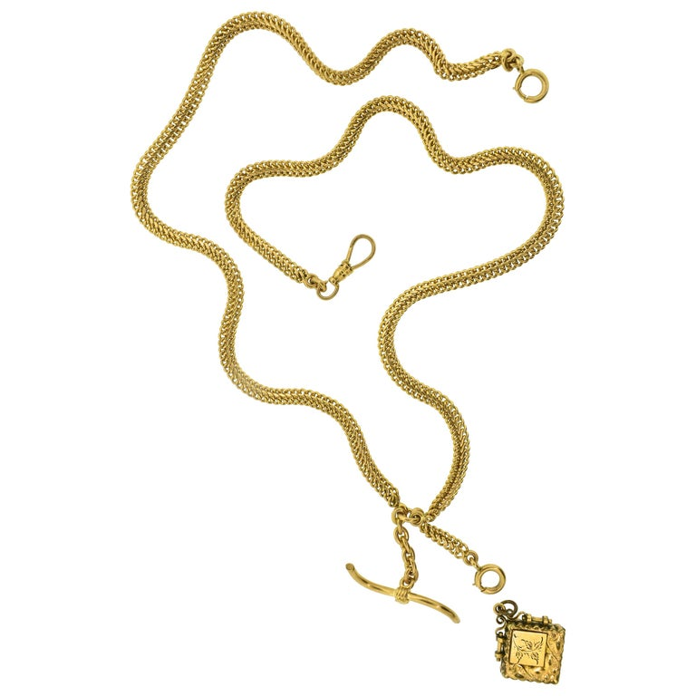 Antique Gold Neck Chain with Fobs, circa 1900 For Sale