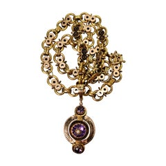 Antique Gold Necklace with Amethyst Pendant Enhancer