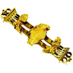 Antique Gold Nugget Brooch, circa 1870, English