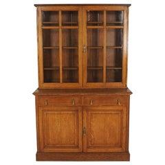 Antique Gold Oak Cabinet Bookcase, Display Cabinet, Scotland 1910, B2471