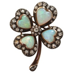 Antique Gold Opal and Diamond Clover Brooch