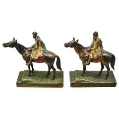 Antique Gold Painted Bronze Polychrome Moorish Arab Horse Rider Bookends - Pair