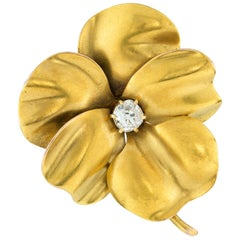 Antique Gold Pansy Brooch