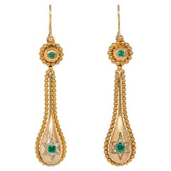 Antique Gold Pendant Earrings with Star-Set Emerald and Diamond Drops