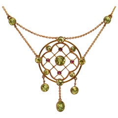 Antique Gold Peridot Ruby Drop Pendant