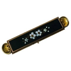 Antique Gold Pietra Dura Brooch, Italy, circa 1875