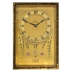 Antique Gold Plated and Enamel 8 Days Desk / Travel Clock by Liberty London