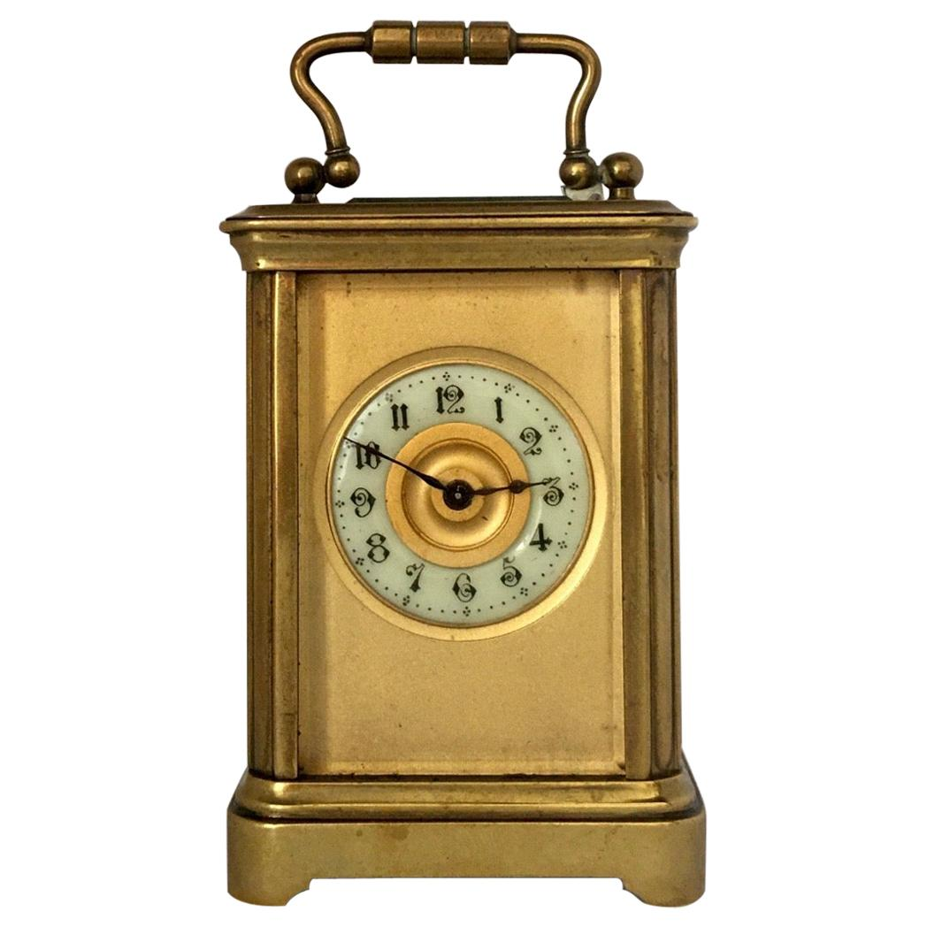 Antique Gold Plated and Glass Casing Miniature French Carriage Clock