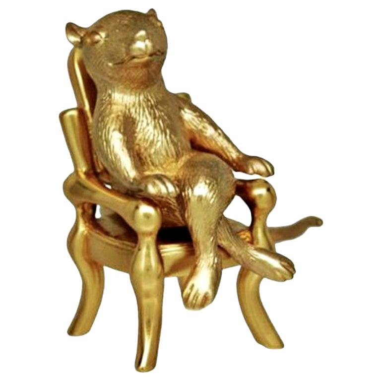 """Antique Gold-Plated Bronze """"The Year Of The Rat"""" by John Landrum Bryant For Sale"""