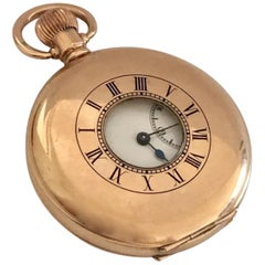 Antique Gold-Plated Dennison Cased Swiss Made Half Hunter Pocket Watch