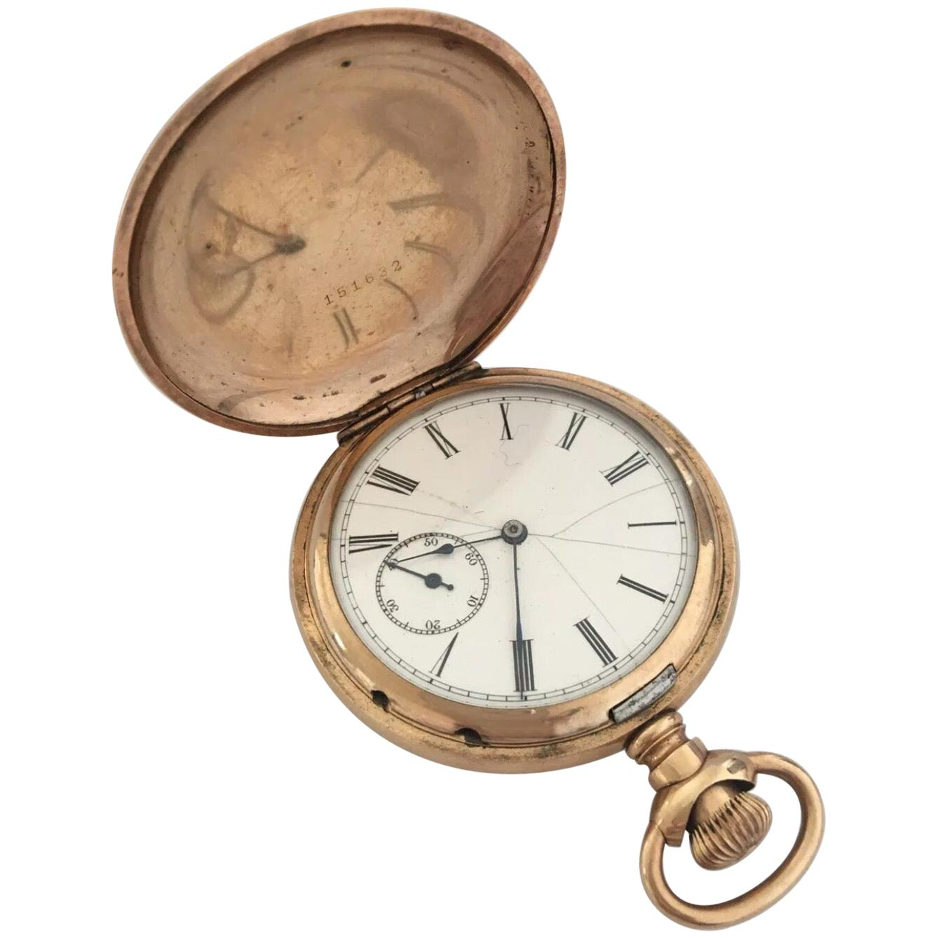 Antique Gold-Plated Full Hunter Cased Pocket Watch Signed Illinois Watch Case Co