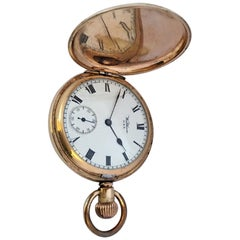Antique Gold-Plated Full Hunter Cased Waltham Hand Winding Lever Pocket Watch