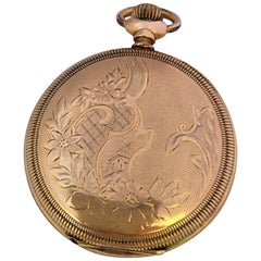 Antique Gold-Plated Full Hunter Engine Turned Engraved Case Waltham Pocket Watch