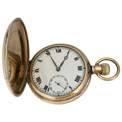 Antique Gold-Plated Full Hunter Swiss Hand-Winding Pocket Watch