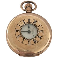 Antique Gold-Plated Half Hunter Dennison Case Pocket Watch