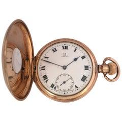 Antique Gold-Plated Half Hunter Dennison Cased Keyless Lever Omega Pocket Watch