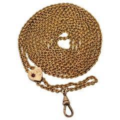 Antique Gold-Plated Ladies Fancy Watch Chain Slide Necklace