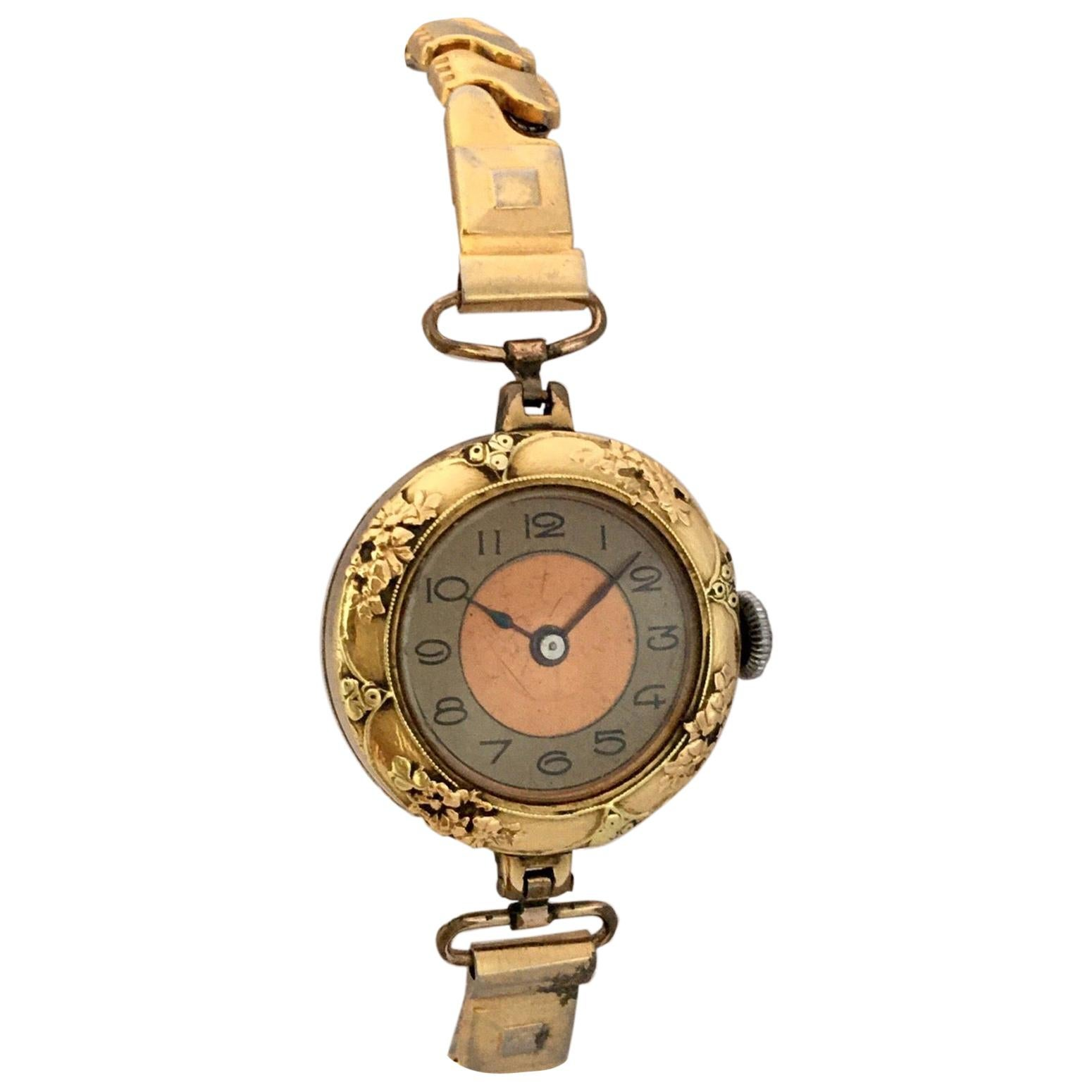 Antique Gold-Plated Ladies Mechanical Trench Watch