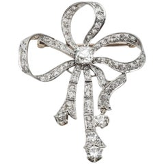 Antique Gold Platinum and Diamond Bow Brooch