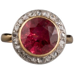 Antique Gold Platinum Diamonds and Rubelite French Ring