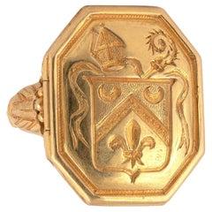 Antique Gold Poison Bishop Ring