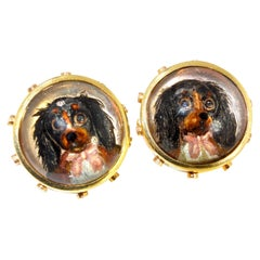Antique Gold Reverse Painting on Crystal Cufflinks