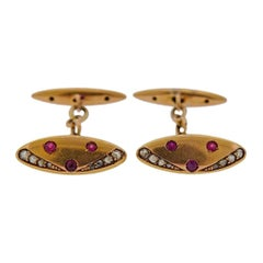 Antique Gold Rose Cut Diamond Ruby Cufflinks
