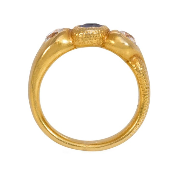 Victorian Antique Gold, Sapphire, and Diamond Three-Stone Gypsy Ring