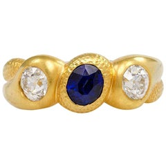 Antique Gold, Sapphire, and Diamond Three-Stone Gypsy Ring