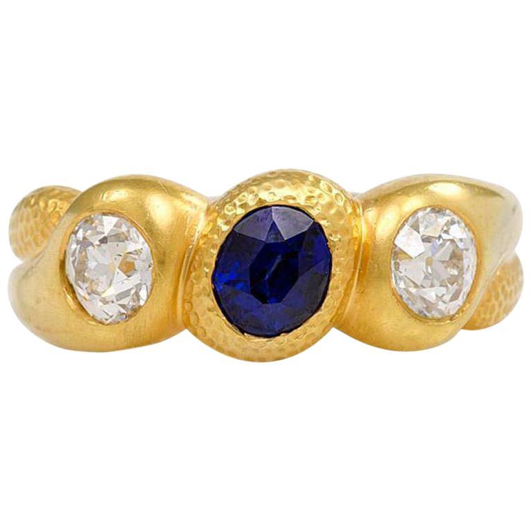 Antique Gold, Sapphire, and Diamond Three-Stone Gypsy Ring