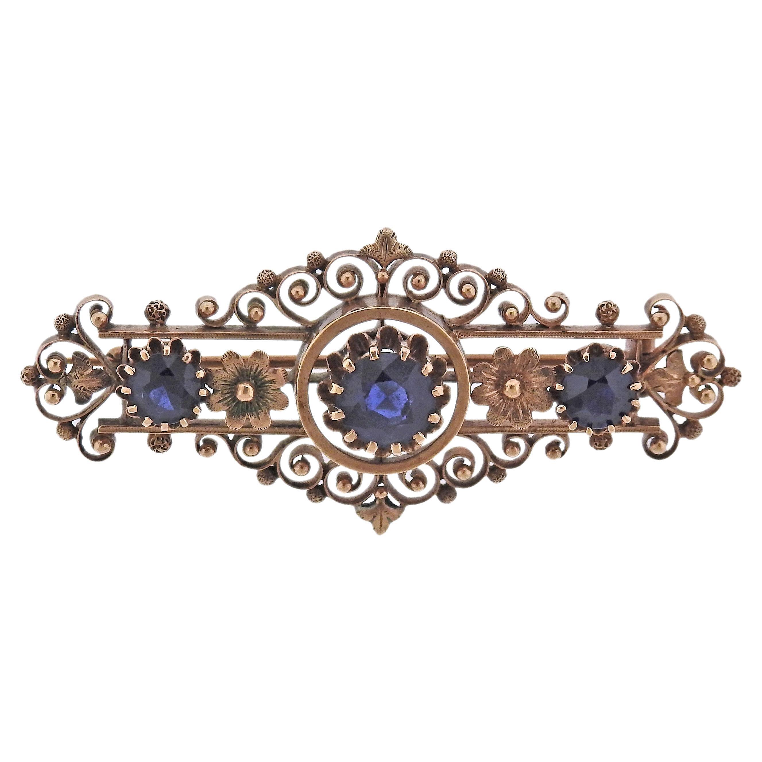 Antique Gold Sapphire Brooch Pin