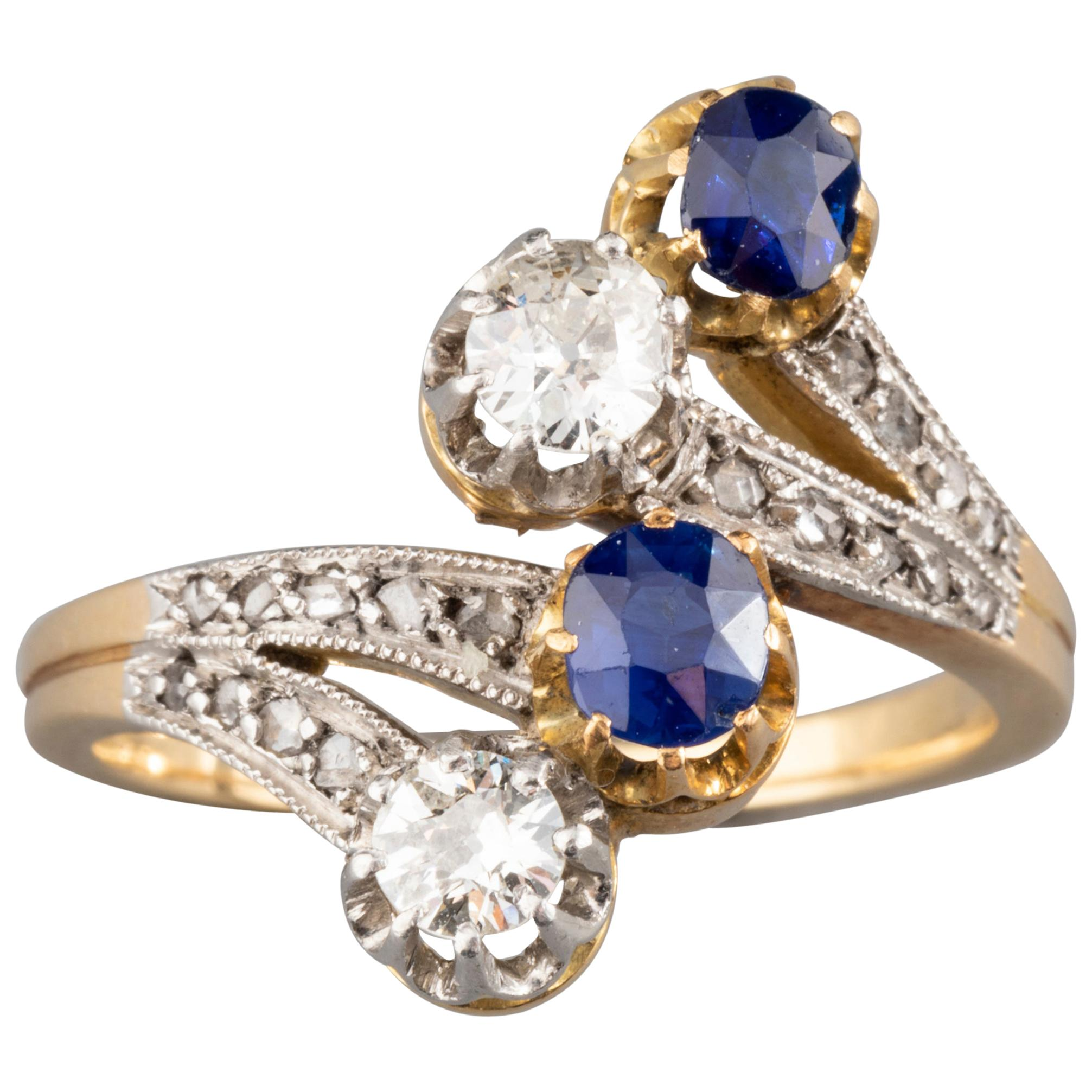 Antique Gold Sapphires and Diamonds French Belle Epoque Ring