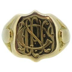 Antique Gold Signet Ring, 18 Carat Gold Hallmarked Birmingham, 1915