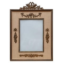 Antique Gold Silk Moiré and Bronze Picture Frame with Garlands