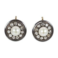 Antique Gold, Silver, Diamond and Pearl Earrings, Early 20th Century