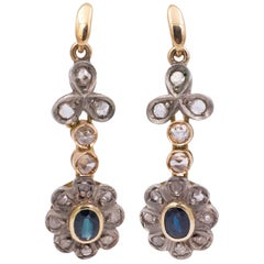Antique Gold, Silver, Diamond and Sapphire Earrings, 1920s