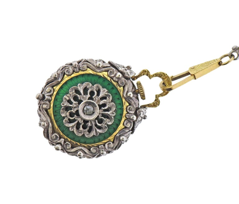 Rose Cut Antique Gold Silver Diamond Enamel Pocket Watch Pendant Necklace For Sale