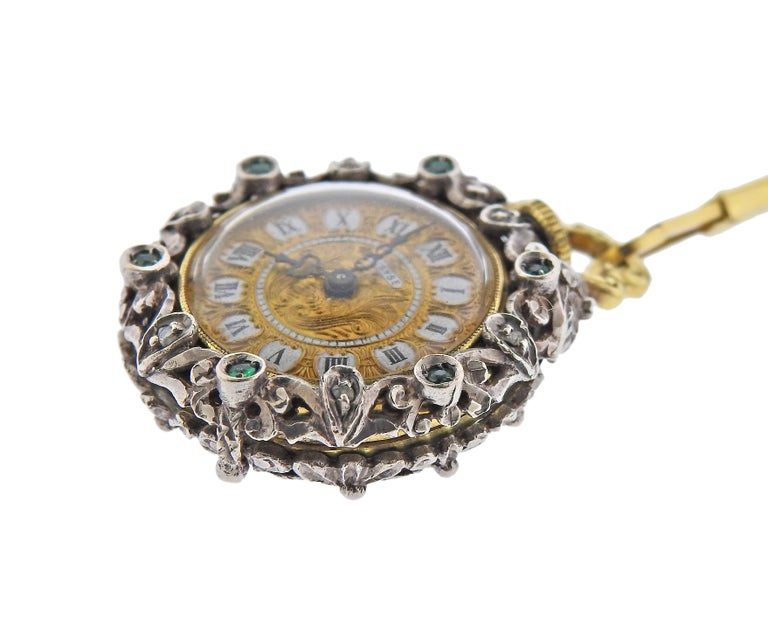 Antique Gold Silver Diamond Enamel Pocket Watch Pendant Necklace In Excellent Condition For Sale In New York, NY