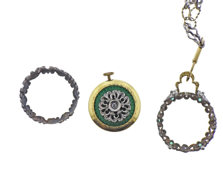 Women's or Men's Antique Gold Silver Diamond Enamel Pocket Watch Pendant Necklace For Sale