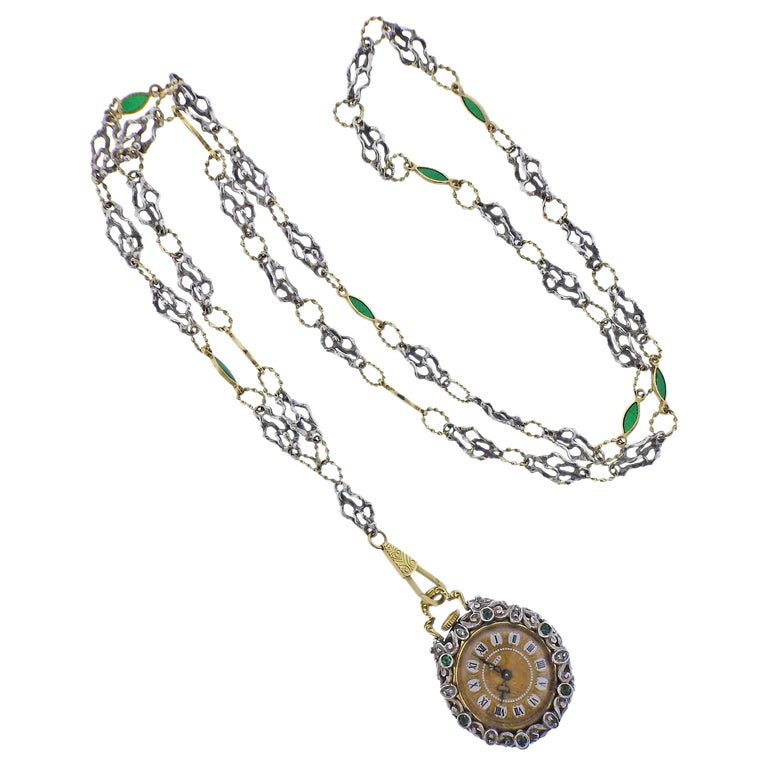 Antique Gold Silver Diamond Enamel Pocket Watch Pendant Necklace For Sale