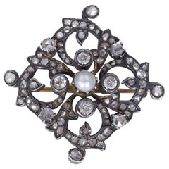 Antique Gold, Silver, Pearl and Diamond Brooch, Early 20th Century