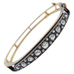 Antique Gold Silver Rose Cut Diamond Bracelet