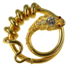 Antique Gold Snake or Serpent Brooch with Big Diamond