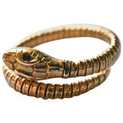 Antique Gold Snake Ring with Ruby Eyes