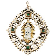 Antique Gold Spanish Pendant with the Virgin of the Immaculate Conception