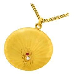 Antique Gold Spider Pendant