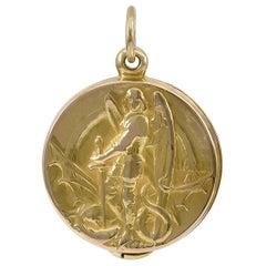 Antique Gold St. Michael Locket